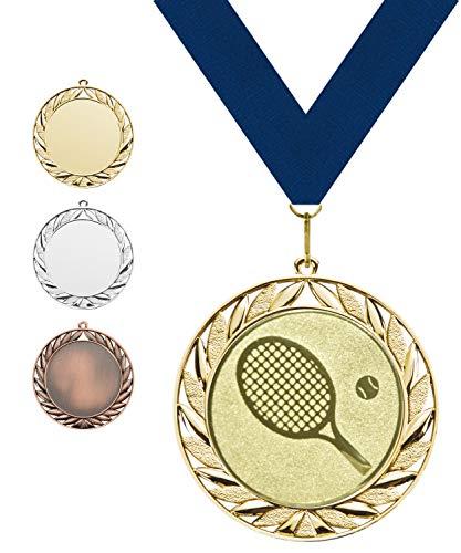 Pokalmatador GmbH Ø 70 mm Medaille Deutschland inkl. Medaillenband und Aluminiumemblem mit Sportart und Beschriftung (Medaille Gold, inkl. Beschriftung)