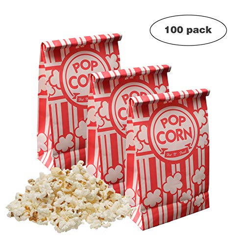 Keriqi Popcorn Bags, 2 oz Flat Bottom Paper Popcorn Bags for Family Movie Night Baseball Themed Carnival Birthday Party 100 Pcs