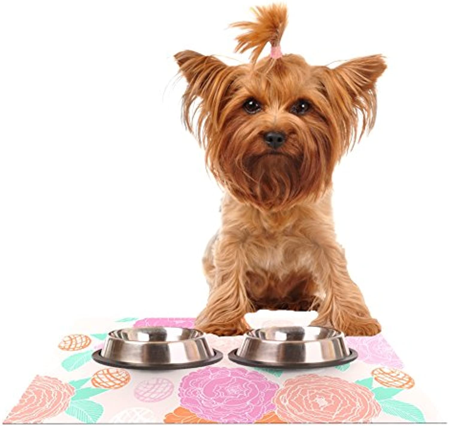 Kess InHouse Anneline Sophia Peonies Pink Peach Teal Feeding Mat for Pet Bowls, 24 by 15