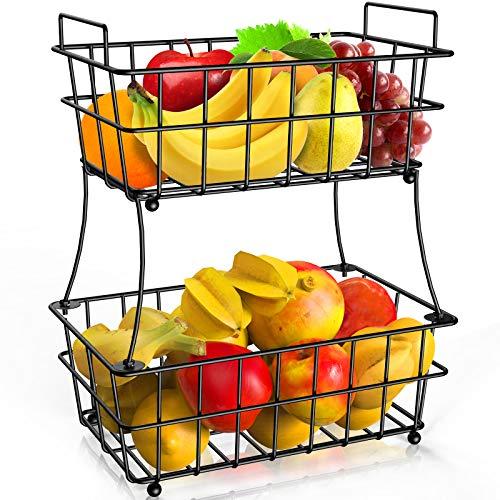 Fruit Basket, STEELGEAR 2 Tier Fruit Basket Bowl Holder for Kitchen, Detachable Vegetable Storage Fruit Stand for Counter Dining Room Countertop, Black