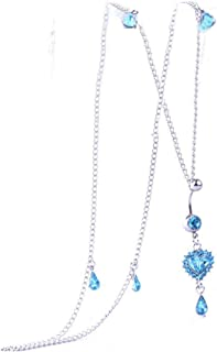 Women Rhinestone Dangle Belly Button Ring with Waist Chain Crystal Drop Pendant Navel Piercing Body Jewelry