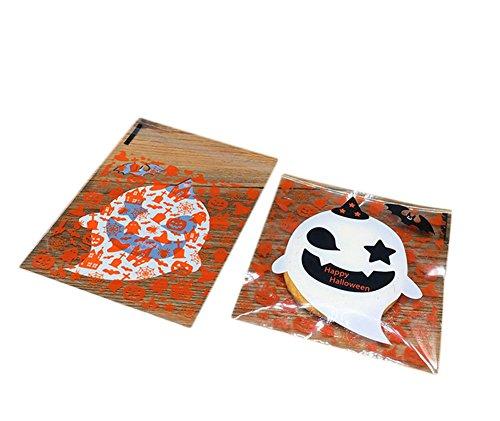 LAAT Sac de Bonbons Halloween Cookies Collations Bricolage Auto-adhésifs Cadeaux Sachets en Plastique 100pcs