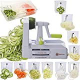Best Zoodle Makers - Brieftons 10-Blade Spiralizer: Strongest-and-Heaviest Vegetable Spiral Slicer, Best Review
