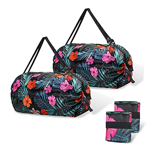 Roucerlin 2 Stück Faltbare Einkaufstaschen, Wiederverwendbare Einkaufsbeutel, Wasserdicht waschbar Einkaufstüten, Leichte Große Kapazität Tragbare Tragetasche für Picknick im Freien (Flowers)