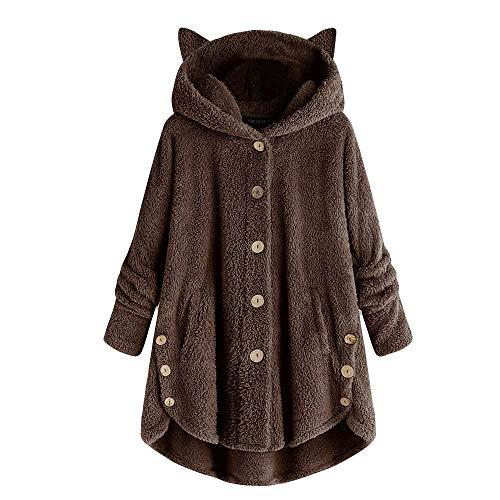 Julhold Suéter para las mujeres botón capa sólido tops con capucha suéter suelto blusa más tamaño suéter