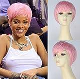 Royalvirgin Rihanna Cosplay parrucca corta dritta sintetica per donne dall'aspetto naturale capelli rosa Bob con frangia resistente al calore parrucca piena fatta a macchina