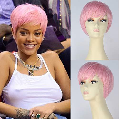 royalvirgin Rihanna Cosplay Perücke kurz glatt Kunsthaar Perücken für Frauen natürlich aussehende Pink Bob Haar mit Pony Hitzebeständig Ersatz Perücke Full maschinell hergestellt