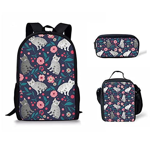 Mochila escolar británica de Howilath para niñas 3 en 1, mochila con bolsa de almuerzo para adolescentes y niñas, Gato Floral Azul Marino, 17 inch (3PCS Set), Juego de bolsos escolares