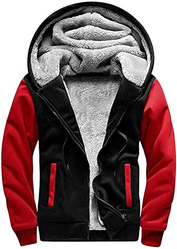SwissWell Homme Punisher Veste Sportif à Capuche Manteau à Capuche Blouson Épaisse Chaud avec Capuche zippée et Sweats Décontracté intérieur en Polaire, Noir-Rouge, 4XL