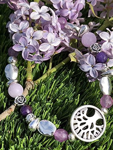 Pulsera árbol de la vida en Zamak y piedras naturales (ágatas) de color lila y morado. ANHUR. Mujer