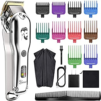 Hatteker Mens Hair Clipper Beard Trimmer Hair Trimmer for Men Cordless Clippers Professional Barbers Grooming Kit IPX7 Waterproof Rechargeable Colorful Combs Silver