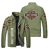 KJGLXD Hombres Sudadera con Capucha Suéter Abrigo Impresión Digital 3D Harley Davidson Cremallera Manga Larga Chaqueta, Adecuado para Primavera otoño