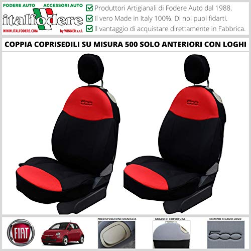 COPPIA COPRISEDILI Fiat 500 SU MISURA Fodera Fodere Foderine SOLO ANTERIORI VARI COLORI (Rosso/Nero)