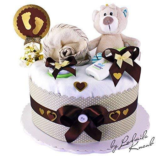 MomsStory - Windeltorte neutral | Teddy-Bär | Baby-Geschenk zur Geburt Taufe Babyshower | 1 Stöckig (Braun-Beige) Baby-Boy & Baby-Girl (Unisex) mit Plüschtier