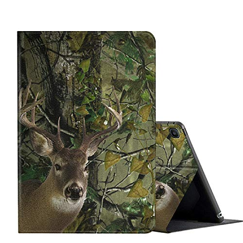 Galaxy Tab A 10.1 case 2019 Tablet Model SM-T510 T515, AMOOK Multi-Angle Viewing Anti Slide Folio Stand Smart Cover Cases for Samsung Galaxy Tab A 10.1 Inch - Hunting Forest Deer Como