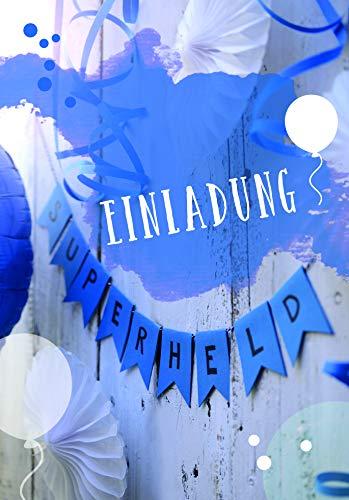 Kinderverjaardagsuitnodigingen jongen/slinger Superheld/blauw