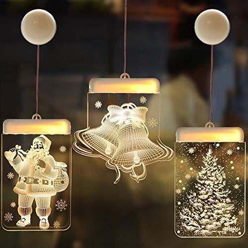 LED-3D-Lichterketten, Batteriebetriebene Vorhangbeleuchtung, Weihnachtsdekoration Für Innen Und Außen, Tür- Und Fenstersauger-Nachtlicht (3)