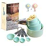 HAEKIM Measuring Cups and Spoon Set, Plastic Measuring Cup and Spoon with Stainless Steel Handle, Measuring Tool for Liquids and Solids Baking Cooking, with two cartoon hooks