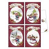 20 Weihnachtskarten, Vintage, Nostalgie Weihnachts-Postkarten im Set, 4 unterschiedliche Motive, je 5 Stück, Mäuseweihnacht, Weihnachtspostkarten, Weihnachtskarten mit handgezeichneten Illustrationen