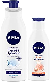 Nivea Express Hydration Body Lotion, 400ml and Extra Whitening Body Lotion, 120ml