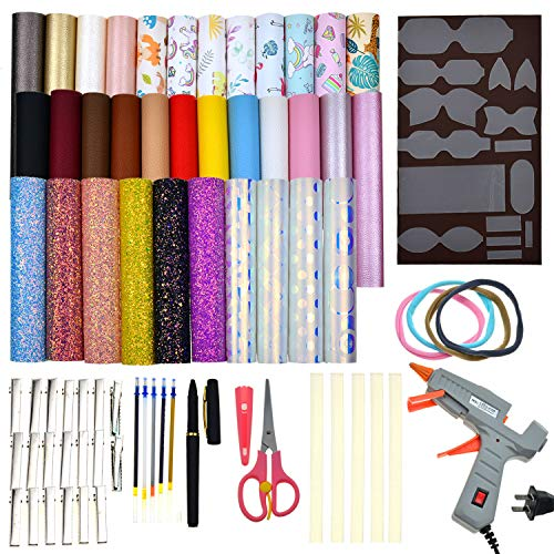 Faux Leather Bow Template Making Kit Include 5 Kinds of Faux Leather Sheets,Hair Clips,Scissor,Bow Template,Hot Melt Glue Gun with Glue Stick, Hair Ties, Water-Soluble Pens, Perfect for DIY Starter