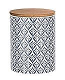WENKO Aufbewahrungsdose Lorca, 0,95 l, Vorratshaltung, Frischhaltedose mit Bambusdeckel und Silikonring zur luftdichten & aromafrischen Aufbewahrung, aus hochwertiger Keramik, Ø 11 x 15 cm, Mehrfarbig