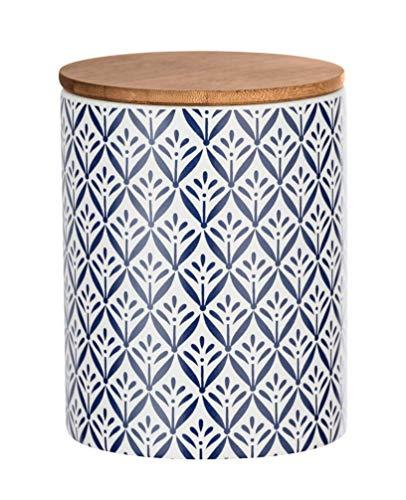 WENKO Aufbewahrungsdose Lorca 0,95 l - Vorratsdosen, Frischhaltedose mit Bambusdeckel und Silikonring luftdicht & aromafrisch Fassungsvermögen: 0.95 l, Keramik, 11 x 14.5 x 11 cm, Mehrfarbig