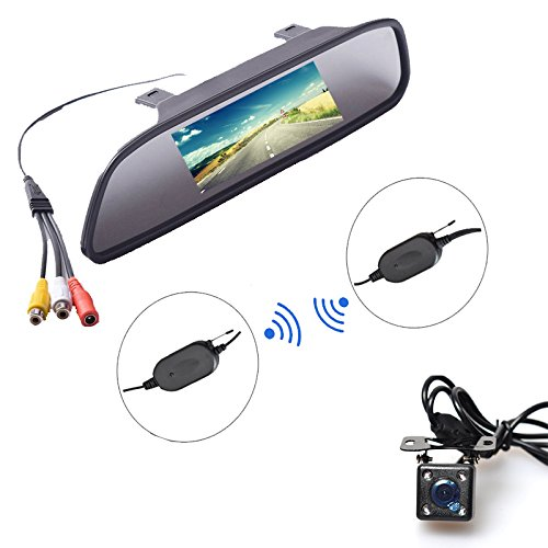 Price comparison product image E-KYLIN Wireless Car Auto 4.3 inch LCD TFT Rear View Mirror Mount Monitor + Universal Screw Mount Backup Camera Reverse Parking System IR Night Vision