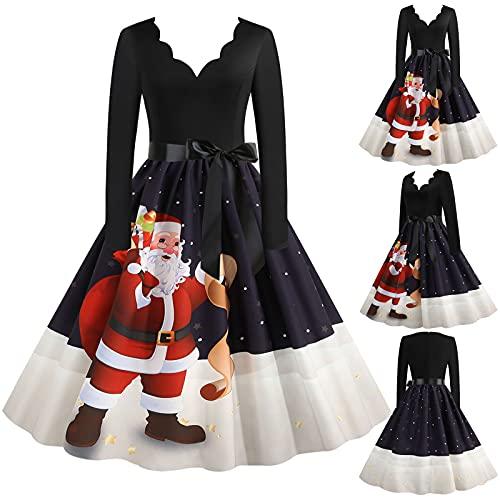 Briskorry Damen Weihnachten Kleider 3D Druck Weihnachtsmotiv Swing Kleid Langarm A-Linie Weihnachtskleid Ugly Christmas Knielang Midi Abend Party Kleid Dress