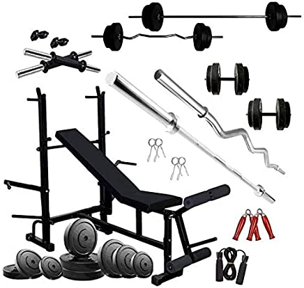RjKart Home Gym 8 in 1 Gym Bench with PVC Plates +3 ft Curl Rod + 5 ft Straight Rod + 1 Pair Dumbbell Rods