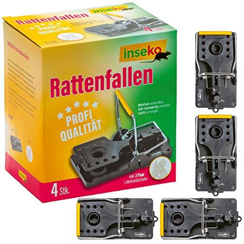 inseko 4 x Profi-Rattenfallen I sehr hochwertig I wiederverwendbar I inklusive Handschuhe (4)