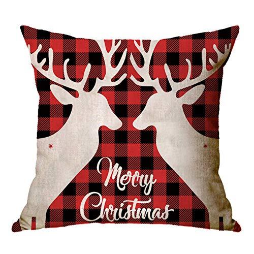Funda de cojín de lino para decoración de Navidad para el hogar
