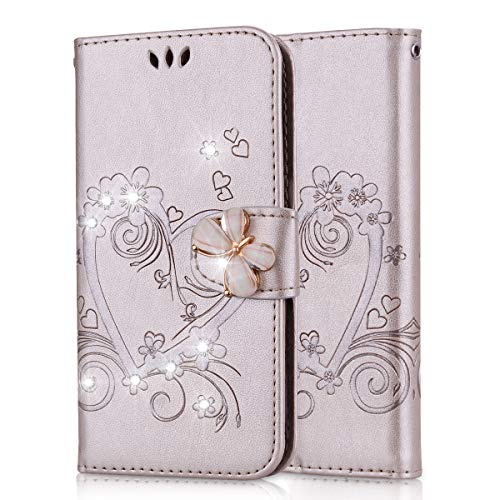 Lspcase Coque Galaxy S5, Samsung Galaxy S5 Neo Housse en Cuir Premium Flip Case Diamant Bling Portefeuille Etui pour Samsung Galaxy S5 / S5 Neo Motif Fleur Papillon Or