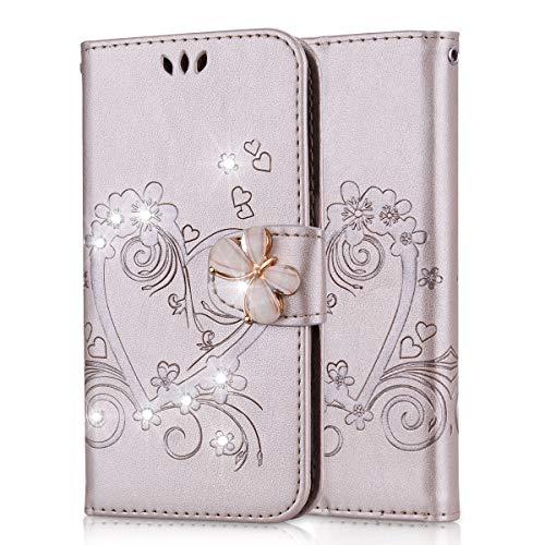 Lspcase Samsung Galaxy S5 Flip Cover, Samsung Galaxy S5 Neo Diamante Bling Libro Custodia in Pelle Portafoglio con Supporto Case per Samsung Galaxy S5 / S5 Neo Modello di Fiore Farfalla Oro