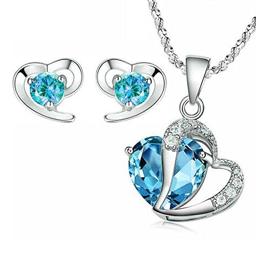 Kim Johanson Mädchen Schmuckset *Türkis Herz* Silber Halskette mit Anhänger & Ohrringe mit Zirkonia Steinchen Besetzt inkl. Schmuckbeutel