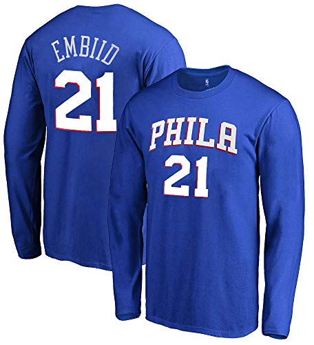 Outerstuff NBA Youth Game Time Team Color Player Name and Number Long Sleeve Jersey T-Shirt (Medium 10/12, Joel Embiid Philadelphia 76ers)