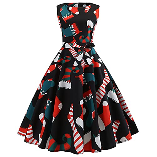 Christmas Maxi Dresses for Women Vintage 1950s Rockabilly Prom Dresses Retro Floral Print Cocktail Formal Party Dress