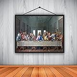 YYAYA.DS Impresión de Lienzo Obra de Da Vinci, la última Cena, Cuadros de Pared para Sala de Estar, Pintura al óleo, Pintura Cristiana, Jesús 60x90cm