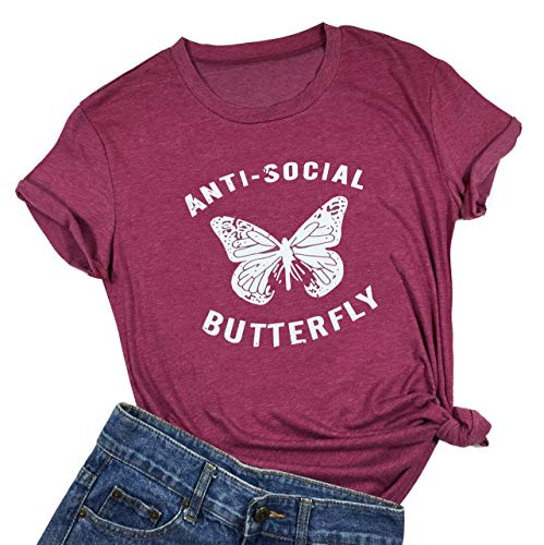 Anti-Social Butterfly Funny T-Shirt Womens Letter Printed Short Sleeve Tops Tee (Small) Red
