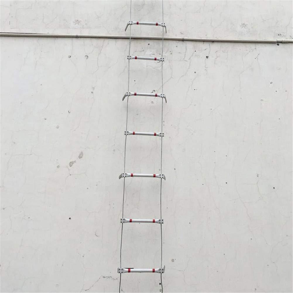 Framy Escalera De Incendios De 17M, Escalera De Cuerda De Alambre De Acero Escalera Plegable De Aluminio para Salvar Vidas Escalera De Rescate De Incendios Duradera con 1 Gancho De Seguridad: Amazon.es: