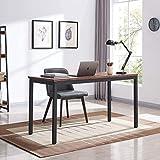 AMOAK 55' Industrial Computer Desk, Writing Desk, Home Office Desk, PC Laptop Table, Simple Study Table, Desk for Bedroom, Easy to Assemble, Black Metal Frame, Rustic Brown