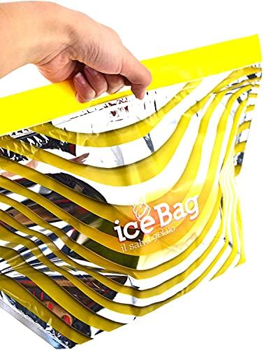 Lot de 10 sachets thermiques Ice Bag 35 cm x 22 cm (pour contenir des bacs à glace de 350/500 cc) pour glace, transport de desserts, semi-froids, yaourt et autres aliments pour crème.