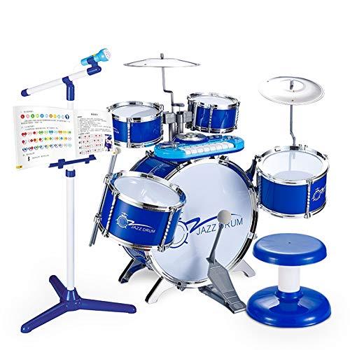 Kinderschlagzeug, Schlagzeug mit Hocker und 2 Trommelstöcken, Schlagzeug Drumset, Kinder Trommel - Set Schlagzeug Drumset - BLAU,Blue