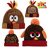 2 Pcs Thanksgiving Pom Pom Beanie Hats for Turkey Trots Dress Up Party, Role Play and Carnival Cosplay Brown