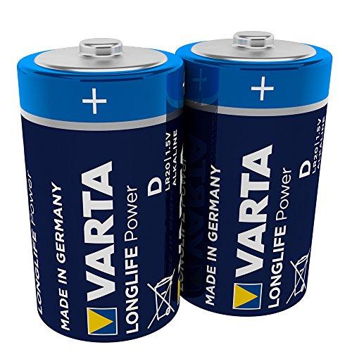 VARTA Longlife Power D Mono LR20 Batterie (2er Pack) Alkaline Batterie - Made in Germany - ideal für Spielzeug Taschenlampe CD-Player und andere batteriebetriebene Geräte