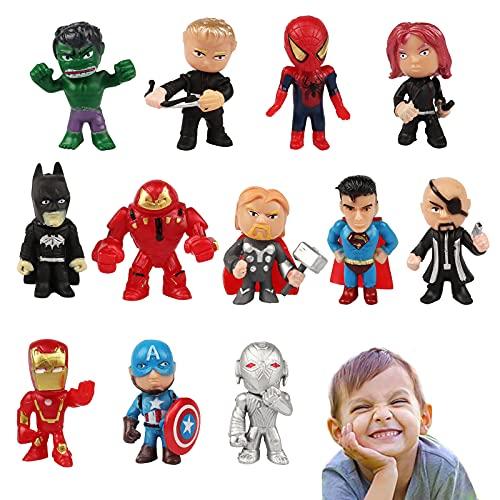 Yisscen Decoración de Tartas 12 piezas Superhéroes Cake Topper Spiderman MiniFigures Figura de Decoración de Pastel de Cumpleaños Baby Shower Birthday Party Decoración para Hornear para Niños
