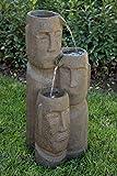 Alpine Corporation TZL196 Tiki Trio God 2 Tiered Fountain, 28 Inch Tall, Grey