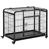 PawHut 37' x 22.75' x 27.25' Heavy Duty Metal Dog Crate & Kennel with Removable Tray, 4 Wheels, & Folding Design