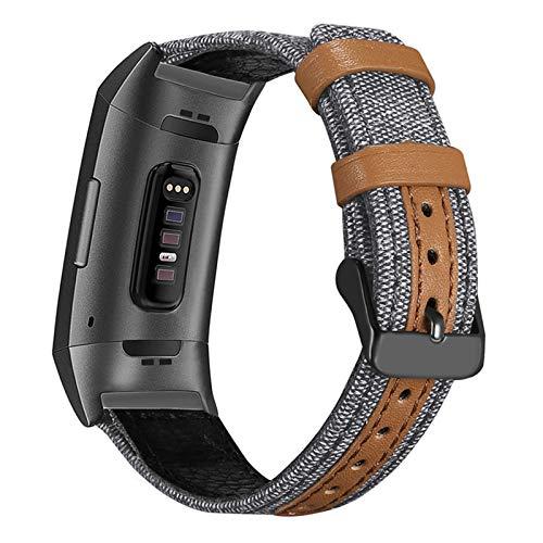 XIALEY Correas Compatible con Fitbit Charge 3/ Fitbit Charge 4, Correa De Cuero De Lona Reloj Pulseras De Repuesto Hebilla Metálica Brazalete para Charge 3 / Charge 4,D
