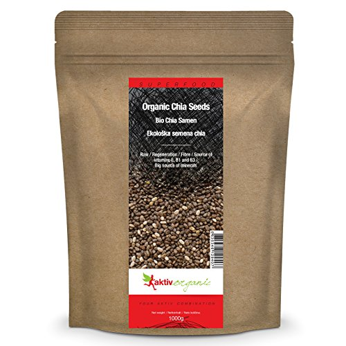 Aktiv Organic BIO Graines de Chia 1 kg, Cru, Qualité Première